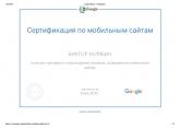 Сертификат Google по мобильным сайтам – Кулябин Виктор