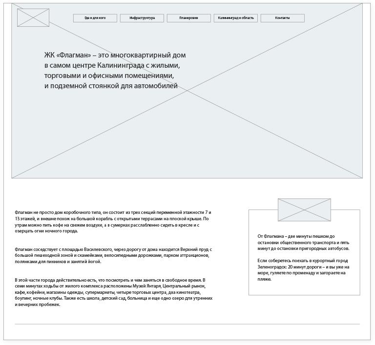 Создание продающего сайта для ЖК «Флагман» в Калининграде
